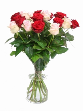Bouquet of pink and red Roses big heads