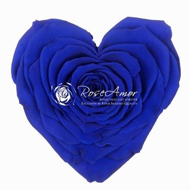 Geconserveerd blauwe Rozen hart in een cadeaubox