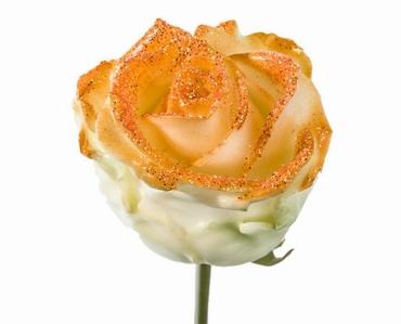 Boeket van grootbloemige wax Rozen wit met oranje glitters