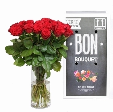 Bouquet of 30 short red Roses with big heads