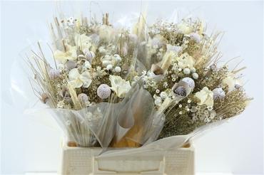Bouquet séché Fantasia blanchi