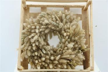Dried flower wreath 35 cm from Lagurus, Phalaris and Wheat