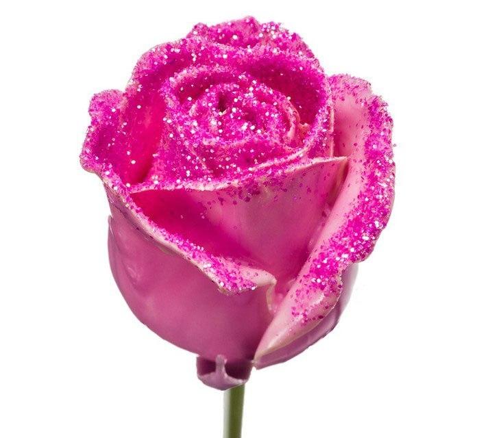 Boeket van grootbloemige wax Rozen roze met roze glitters