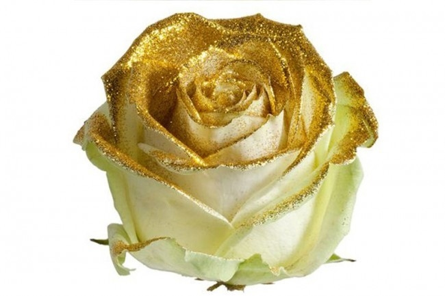 Bouquet of long white Roses big flowers and golden sparkles