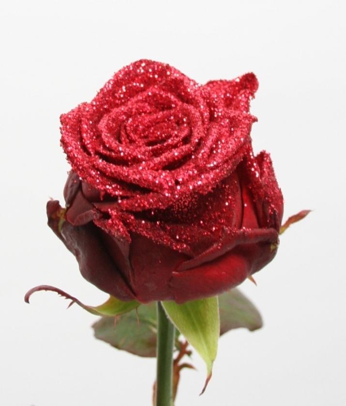 Boeket van rode grootbloemige Rozen met rode glitters