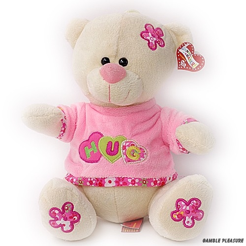 Cuddly bear white with pink clothes Hug