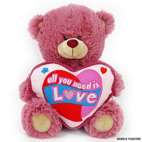 Teddy bear old pink with heart cushion