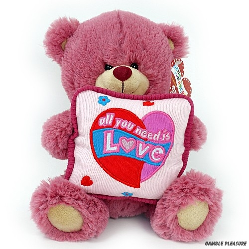 Teddy bear old pink with square cushion