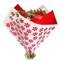 Bouquet sleeve Flowers red