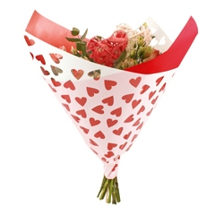Bouquet sleeve Hearts red